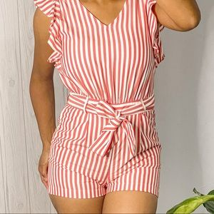 LOFT petites Women's Sleeveless Romper with Belt